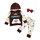 Lankey Baby Girls Boys Little Turkey Thanksgiving Outfits Set Long Sleeve Hoodie + Pants