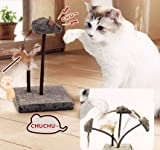 KOOBA Mouse Feather Interactive Motion Cat Toy, 3 In 1 Fun Swing Spring Teaser with Squeak Sound, Light Up Eyes, Soft Natural Feather for Exercise, Fur Mice Fun Pet Game for Cats and Kitten