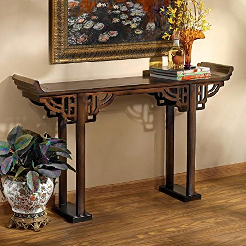 Asian Inspired Console Table Rustic Entryway Living Room Open Shelves Top Traditional Furniture & E book By Easy2Find (Classics Ltd Console Table Furniture)