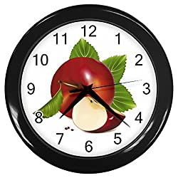 Life Like Red Cut Apple Black Frame Kitchen Wall Clock