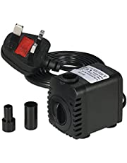 Decdeal Submersible Pump 600L/H 8W Submersible Water Pump for Aquarium Tabletop Fountains Pond Water Gardens and Hydroponic Systems with 2 Nozzles AC220-240V
