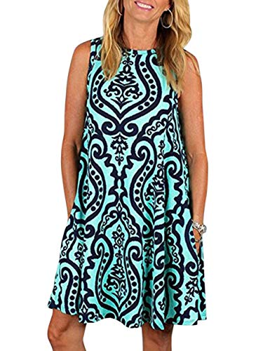 Summer Beach Dresses for Women Tshirt Sundresses Boho Casual Sleeveless Floral Shift Pockets Swing Loose Damask(L, Green) -