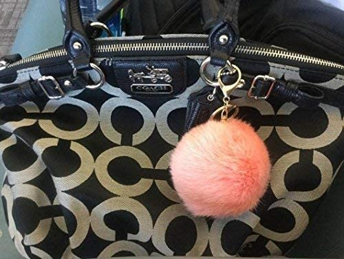 b934f508 Miraclekoo Rabbit Fur Ball Pom Pom KeyChain Gold Plated Keychain with Plush  for Car Key Ring or Handbag Bag Decoration (Orange Pink)