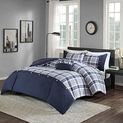 Kaputar Beautiful Modern Cozy Blue RED Plaid Button Stripe Comforter Set Pillow | Model CMFRTRSTS - 2141 | Twin Extra Long ()