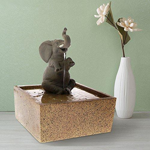 The Geeky Days Sitting Elephant Tabletop Water Fountain Decorative Sculpture Kid Room Desktop Decor Indoor Meditation Air Freshener Waterfall