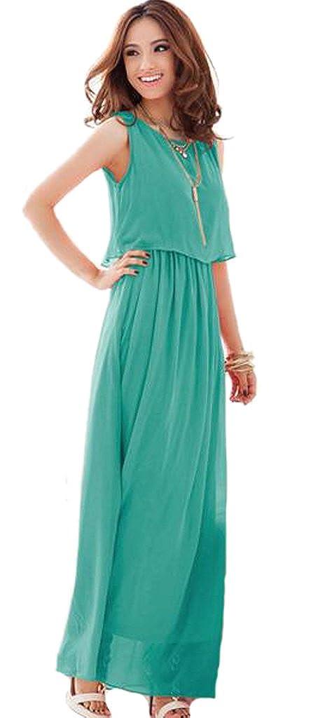 EKU Womens Bohemia Sleeveless Chiffon Round Neck Beach Long Dress Plus Size