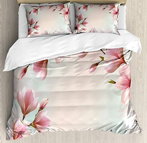 Ambesonne Magnolia Duvet Cover Set, Double Exposure Effect Fragile Pink Petals and Sprouting Branches, Decorative 3 Piece Bedding Set with 2 Pillow Shams, King Size, Coral Pink