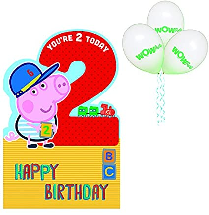WOW Peppa Pig - Tarjeta de felicitación de cumpleaños para ...