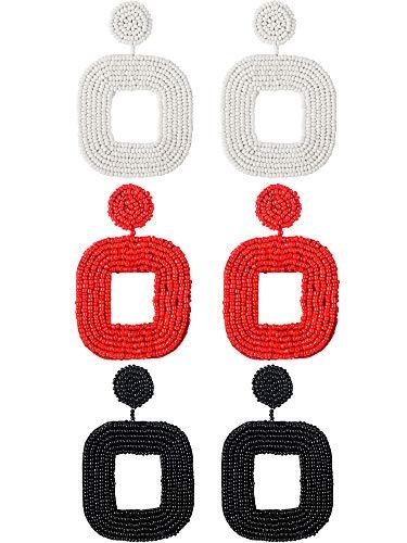 (3 Pairs Statement Beaded Earrings Bohemian Beaded Hoop Earrings Square Dangle Earrings for Women Favor)