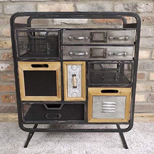 finitura nera invecchiata Generic Rage Cassettiera industriale con 8 cassetti 8 cassetti stile industriale