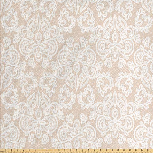 Lunarable Cream Fabric by The Yard, Wedding Inspired Symmetrical Design White Lace Style Background Pattern Damask Vintage, Decorative Fabric for Upholstery and Home Accents, 3 Yards, Tan White (Pillow Toss Lace)