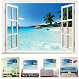 Amaonm Removable Huge Large 3D Beach Sea Window View Art Decor Wallpaper Mural Wall Decals Sticker for Home Wall Art Decor Kids Bedroom Living Room Decorations