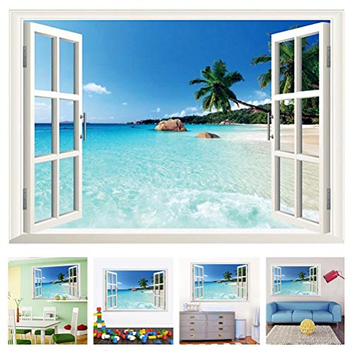 Amaonm Removable Huge Large 3D Beach Sea Window View Art Decor Wallpaper Mural Wall Decals Sticker for Home Wall Art Decor Kids Bedroom Living Room Decorations (Living Hawaiian Room)