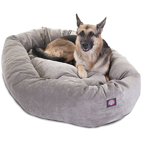 Bagel Dog Bed - 52 inch Vintage Villa Collection Micro Velvet Bagel Dog Bed By Majestic Pet Products
