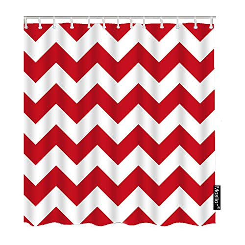 Moslion Striped Shower Curtains Retro Geometric Wavy Stripes Chevron Zigzag Red White Waves Bathroom Shower Curtain Set Home Decorative Waterproof Polyester Fabric Hooks 60x72 Inch -