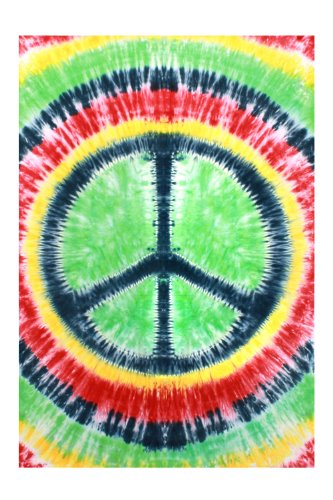 Sunshine Joy Rasta Tie-Dye Peace Sign Tapestry - 60x90 Inches - Dorm Decor - Beach Sheet - Hanging Wall Art