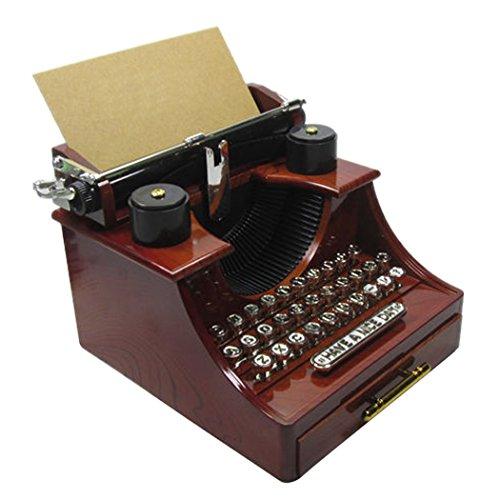 Happy Cherry Retro Musikspieldose Klassische Schreibmaschine Mechanische Spieluhr auf Alt gemacht Geschenk Spielzeug Fotografie Prop Haus Deko - Braun