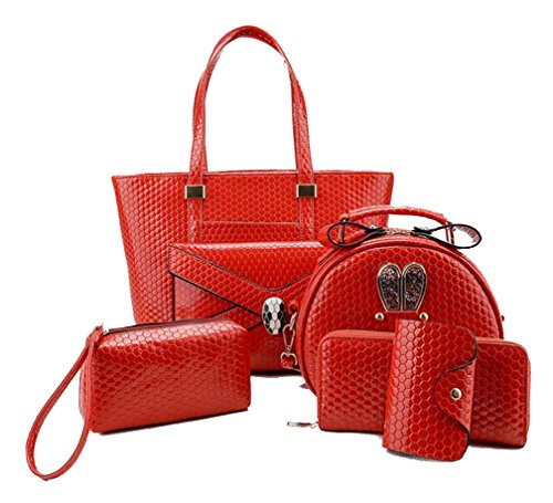 Show Handbag Women's Shoulder Wallet With Patent Bag Pieces Set Football Leather Red Matching 6 Yan Purse Pattern 8wdxn8