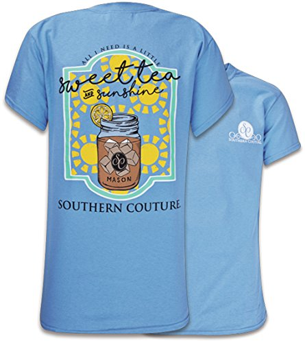Southern Couture SC Classic Sweet Tea & Sunshine Womens Classic Fit T-Shirt - Carolina Blue, Large ()