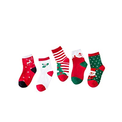 Ewanda store 5 Pairs Cute Cotton Tube Socks Winter Warm Socks Christmas Holiday Socks for 4-6 Years Old Toddler Baby Kids Children Boys Girls, M : Baby