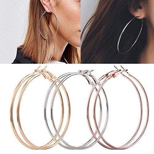 WensLTD 3 Pair New Fashion Lady Women Thin Round Big Large Dangle Hoop Loop Earrings ()