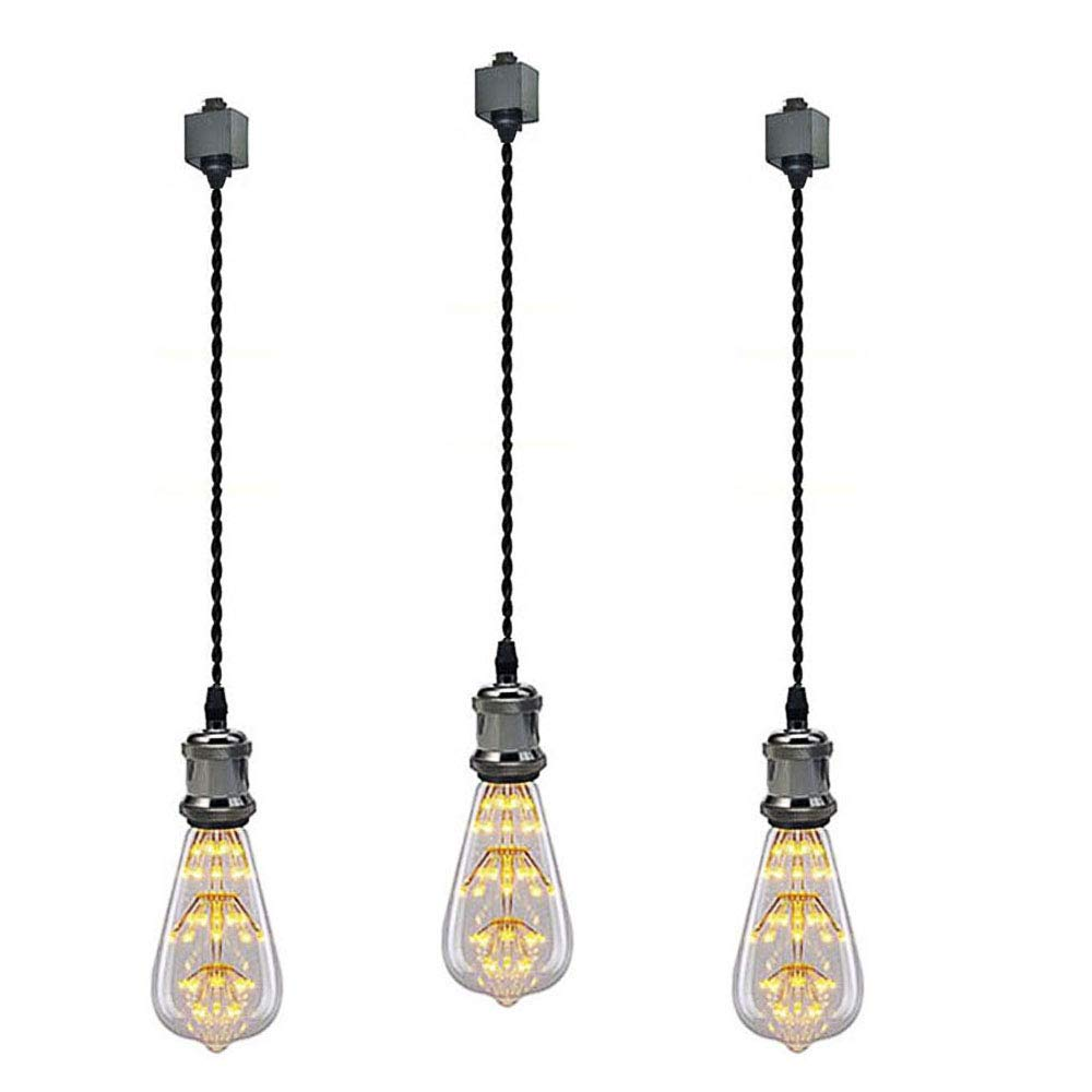 Kiven 1-Light H System Track Mini Pendant, Pearl Black Finish Lamp Holder Fitting Track Light Kit, Rose Pendant Braided Fabric Flex Cord Length 23.62 in,LED Bulb Included