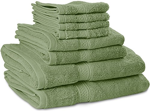 premium 8 piece towel set sage green 2 bath towels 2 hand towels and 4 new. Black Bedroom Furniture Sets. Home Design Ideas