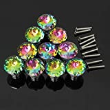 KINGSO 10pcs Colorful Crystal Glass Cupboard Handles Diamond Door Knobs Drawer Cabinet Pull