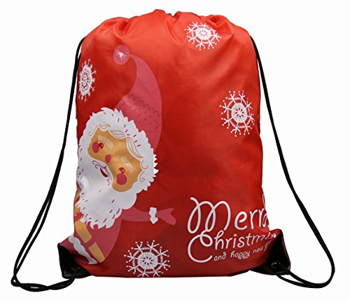 Christmas drawstring bags pack santa sack backpack for