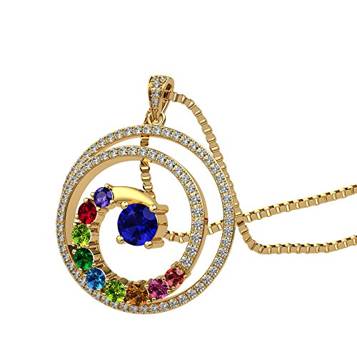 NANA Swirl Pendant Necklace 1 to 9 Stones with a 1mm 22