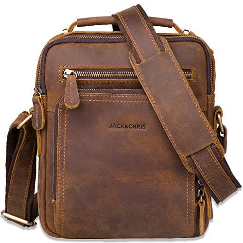 Leather Messenger Bag for Men,Jack&Chris Man Purse Crossbody Bags for Work Business (Brown), JC5207-8 (Purse Bag Leather Messenger)
