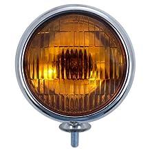 """(2) 5"""" Round Antique Vintage Car Truck Hot Rod Halogen Fog Lights / Amber Lens"""