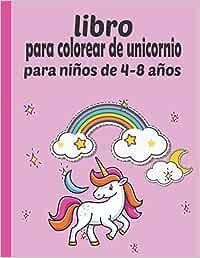 libro para colorear de unicornio para niños de 4-8 años