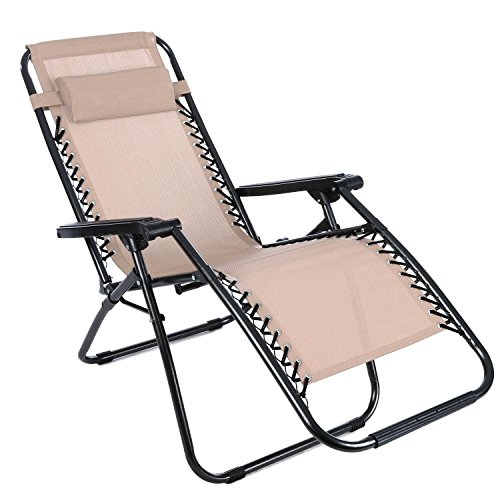 Mewalker Zero Gravity Lounge Chair Foldable Reclining Chair with Adjustable Headrest Outdoor Folding Recliner (US STOCK) (Khaki) by Mewalker