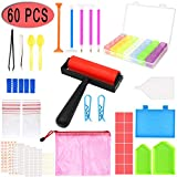 60 Pieces 5D Diamond Painting Tools, PETUOL DIY Painting Accessories Diamond Cross Sticky Drill Pen Clay, Plastic Tray Kits and Fix Tool Diamond Painting Roller and Embroidery Box for Adults or Kids