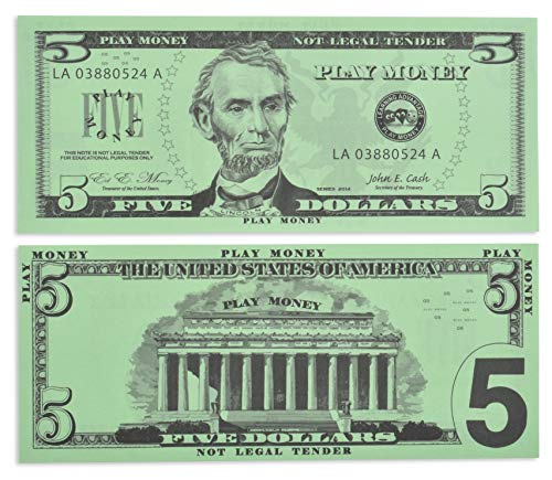 Learning Advantage Five Dollar Play Bills - Set of 100 $5 Paper Bills - Designed and Sized Like Real US Currency - Teach Currency, Counting and Math with Play Money