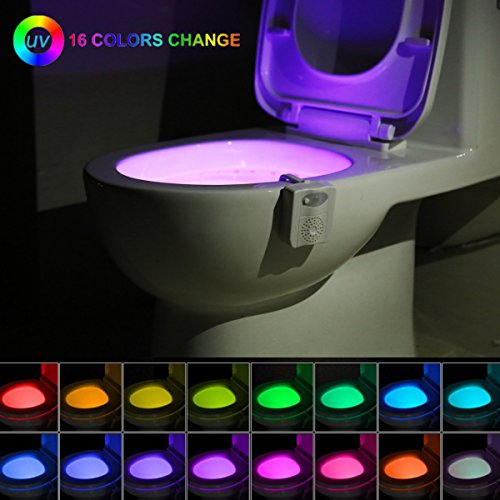 16-Color UV Sanitizer Toilet Night Light Gadget, Motion Sensor Activated LED Lamp, Fun Bathroom Lighting Add on Toilet Bowl Seat w/Aromatherapy Air Freshener - Novelty Gifts for Adults, Kids, Toddler