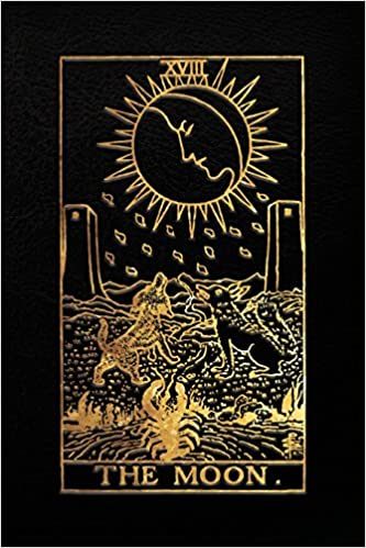 The Moon Tarot Card Notebook, Black and Gold - 120 blank pages