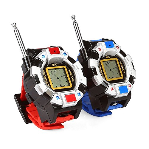 Radioddity RD-W 1 Pair Wrist Watch Walkie Talkies for Kids, Toy Spy Two-Way Radios Transceiver for Children, Easy to Use & Kids Friendly, 2 Pcs, Blue & Red