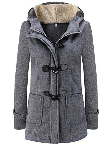 Lana Jacket Coat Sudadera Capa Gris Invierno Parka de Chaqueta Abrigo Oscuro Mujer Pea LooBoo Capucha Casual con Pullover PCZzzp