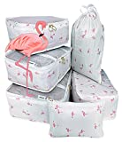 my FL 6pcs Packing Cubes For Carry on Backpack Organizers Set with Shoes Bag Travel Luggage (White Flamingo)