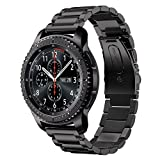 Shangpule Compatible Gear S3 Bands, Galaxy Watch 46mm Bands, 22mm Stainless Steel Metal Replacement Strap Bracelet Compatible Samsung Gear S3 Classic and S3 Frontier Smartwatch (Black)