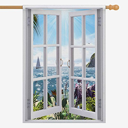 InterestPrint Funny Beach Window View of Sea Ocean Flowers D