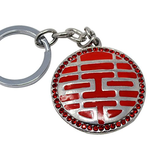 Double Happiness Keychain (Bejeweled Double Happiness Keychain for Love Luck Ring Charm Hanging Amulet+ Free Red String Bracelet Sku:W1198)