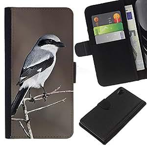 KingStore / Leather Etui en cuir / Sony Xperia Z2 D6502 / Motif Oiseau Blanc Brown