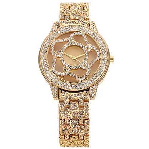 Women's Unique Gold Watch Crystal Diamond Flower Rose Shaped Dial Analog Quartz Wrist Watch Stainless Steel Bracelet His and Hers Gifts
