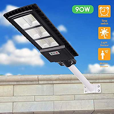 Solar Street Lights Outdoor 90W, Dusk to Dawn Security Light with Remote, Human Body Induction, Wireless Waterproof IP65 Security Lighting for Yard, Pathway, Garage and Garden (Pole not Included)