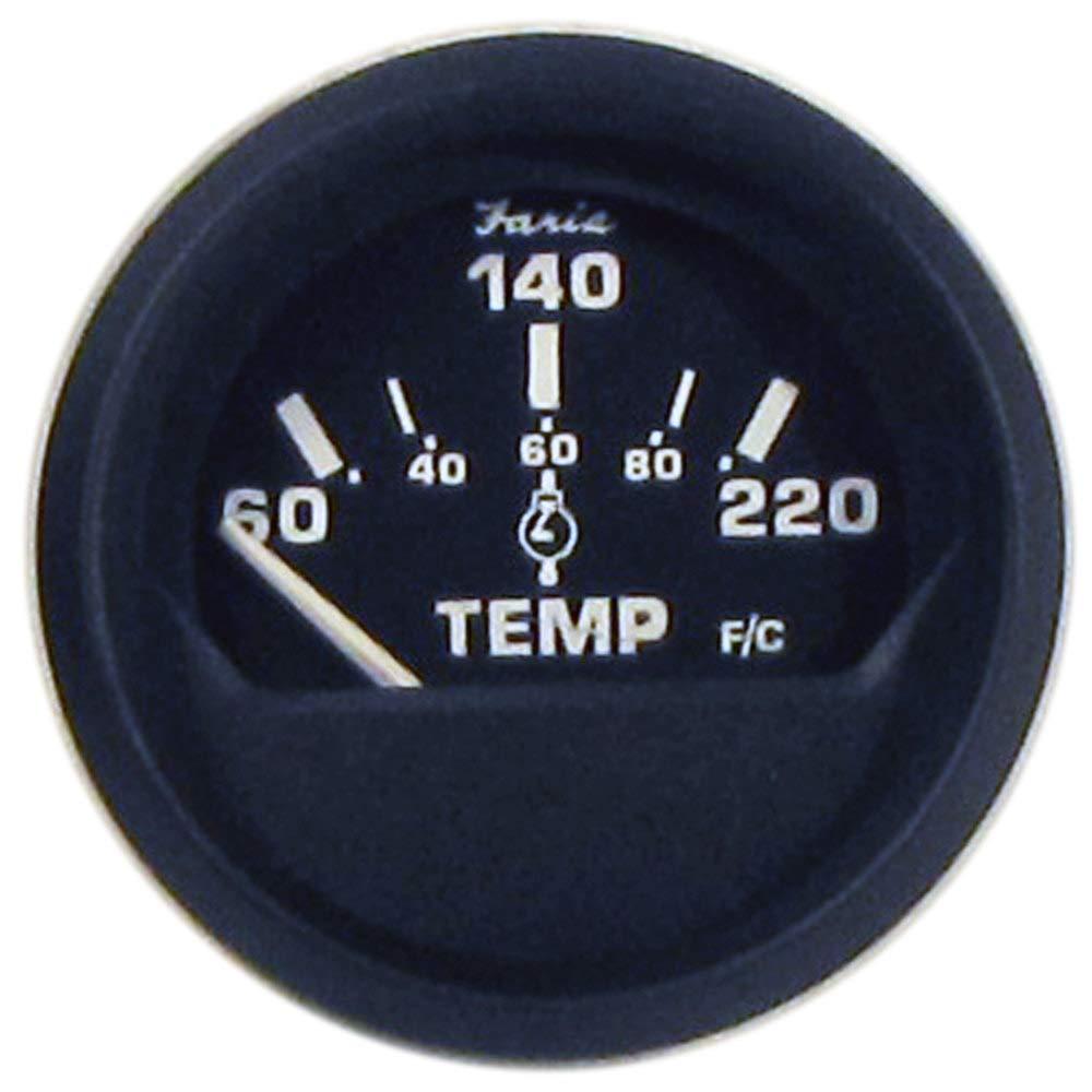 "FARIA BEEDE ""12819 Euro Cylinder Head Temperature Gauge with Sender (60-220°F) - 2"""", Black"