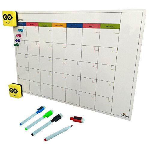 Magnetic Monthly Calendar and Planner Set For Refrigerator | White Dry Erase Board for Fridge | Large 12