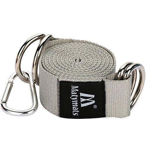 Matymats Cotton Yoga Strap 1.5'' × 6.5 ft Metal D-Ring Mat Carrier